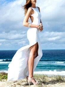 White Beachy Corseted Sleeveless Backless Split Maxi Dress