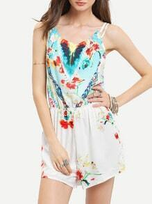 White Spaghetti Strap Backless Floral Print Playsuit