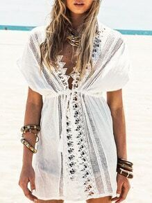 White Short Sleeve V Neck With Lace Dress