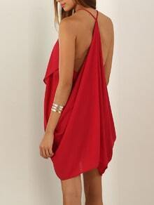 Red Spaghetti Strap Backless Asymmetric Dress