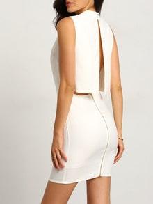 White Bodyform Sleeveless Split Back Bodycon Dress