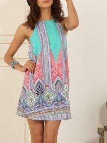 Blue Sleeveless Inch Vintage Beauty Print Dress