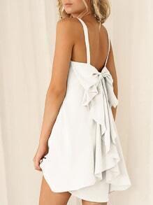 White Strap Bow Knots Ruffle Dress