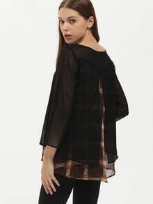 Black Long Sleeve Unique Contrast Plaid T-Shirt