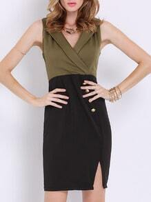Army Green Suiting Buisness Workplace Sleeveless Color Block Split Dress