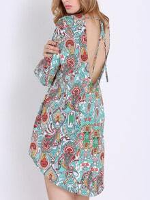 Multicolor Long Sleeve Camo Paisley Print Iridescent Dress