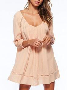 Apricot Neutral Long Sleeve Hollow Loose Dress