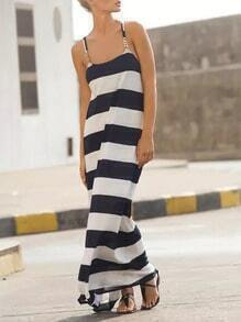 White Navy Spaghetti Strap Resort Striped Maxi Dress