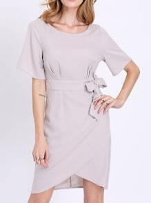 Grey Short Sleeve Waistband Asymmetric Dress