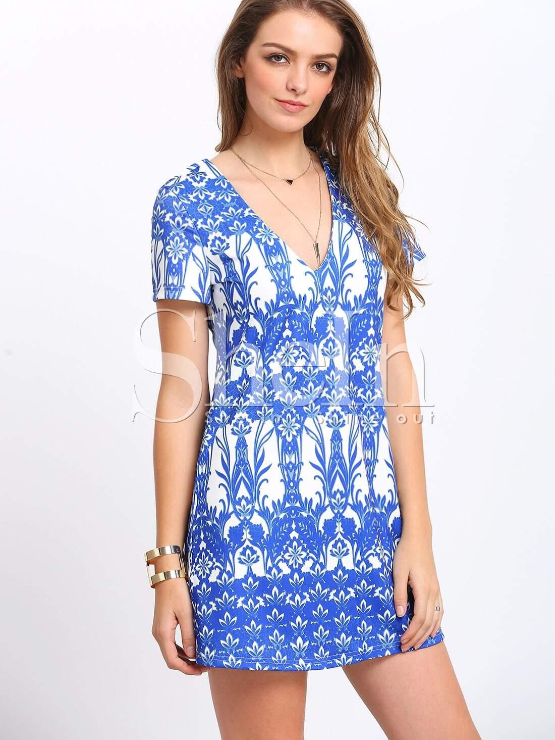 Blue Short Sleeve V Neck Vintage Print Dress -SheIn(Sheinside)