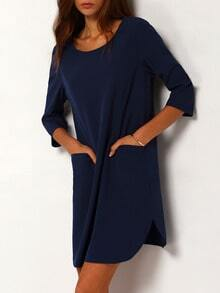 Navy Concert Half Sleeve Pockets Dress