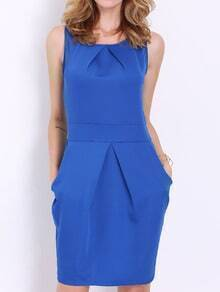Blue Suiting Workplace Sleeveless Pockets Zipper Dress