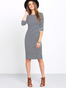White Black Half Sleeve Chambray Stripy Fringes Stria Striped Dress