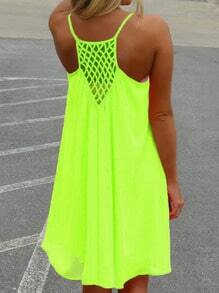 Neon Green Fluorescent Spaghetti Strap Brightly Pretty Fabulous Trendy Hollow Shift Dress