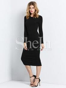 Black Long Sleeve Skinny Split Dress