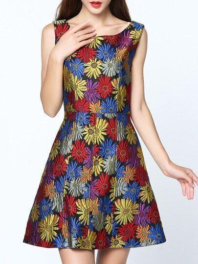 Multicolor Round Neck Sleeveless Pockets Jacquard Dress