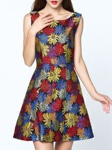 Multicolor Round Neck Sleeveless Pockets Jacquard Dress