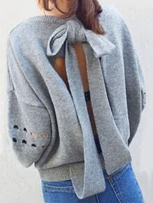 Grey Hollow Bow Back Loose Sweater