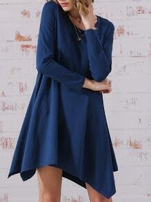 Navy Long Sleeve Minimalist Simple Classical Baggy Casual Dress