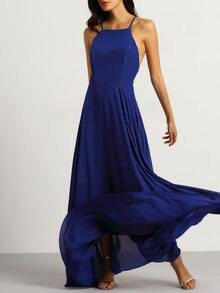 Blue Spaghetti Strap Backless Maxi Dress