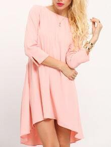 Pink Uneven Round Neck Design Asymetric High Low Dress