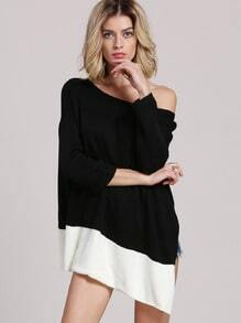 Black White Color Block Asymmetric Coat