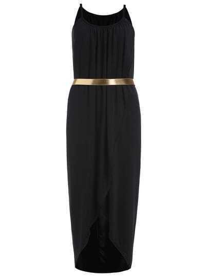 Black Evening Spaghetti Strap Split Slim Dress
