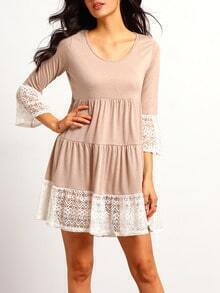 Khaki Scoop Neck Lace Hem Dress