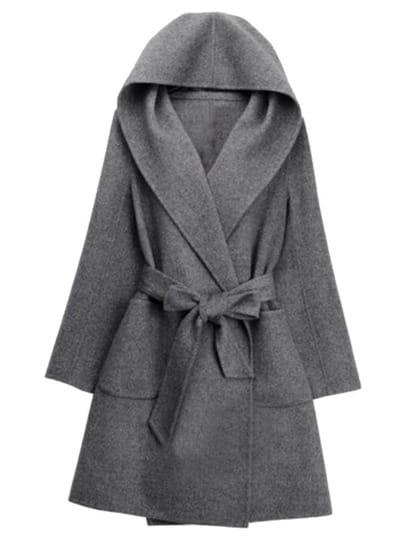 Grey Hooded Tie-waist Casual Coat