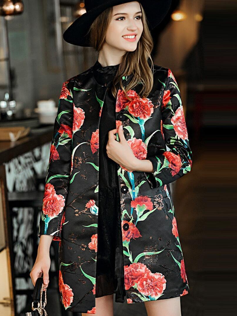 Black Round Neck Long Sleeve Embroidered Print Pockets Coat