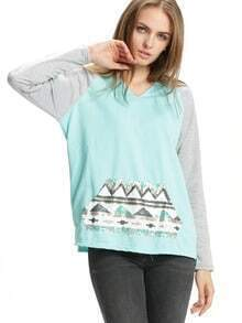 Green Grey Hooded Sequined Loose Sweatshirt
