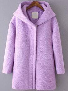 Purple Hooded Long Sleeve Woolen Coat