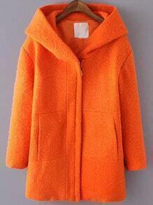 Orange Hooded Long Sleeve Woolen Coat