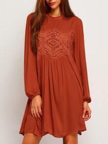 Orange Kaftans Long Sleeve With Lace Dress