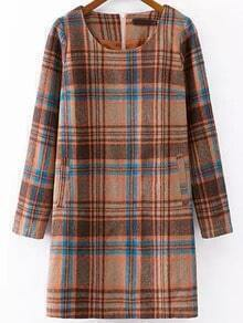 Multicolor Round Neck Plaid Woolen Dress