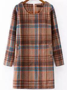 Multicolor Round Neck Plaid Woolen Dress