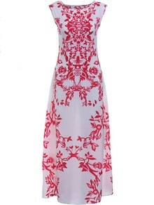 Red White Round Neck Raspberry Floral Maxi Dress