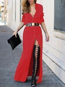Red Long Sleeve Split Maxi Dress