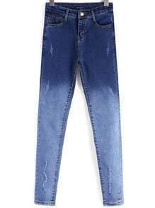 Blue Ombre Pockets Slim Denim Pant