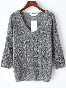 V Neck Hollow Grey Sweater