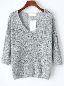 V Neck Hollow Light Grey Sweater
