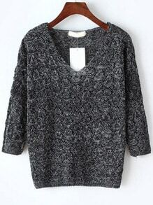 V Neck Hollow Dark Grey Sweater