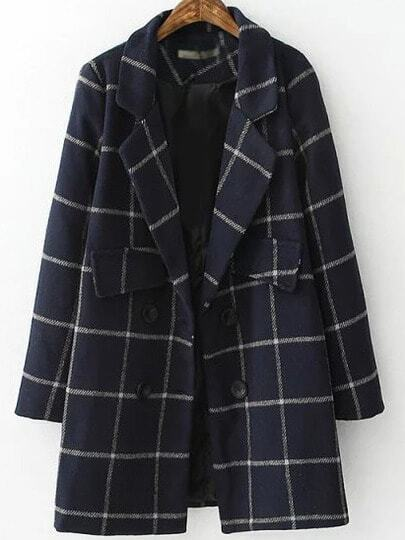 Navy Grey Lapel Plaid Double Breasted Coat