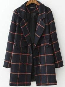 Navy Red Lapel Plaid Double Breasted Coat