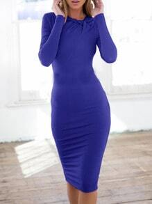 Blue Ruby Long Sleeve Slim Designer Elegantly Wiggle Dress