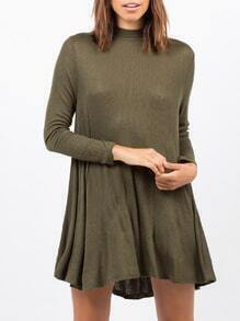 Army Green Long Sleeve Round Neck Casual Dress