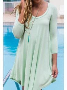 Mint Green Round Neck Slim Dress