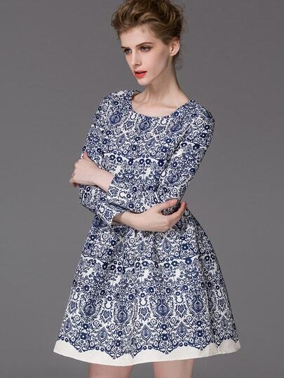 Blue Round Neck Long Sleeve Print Dress