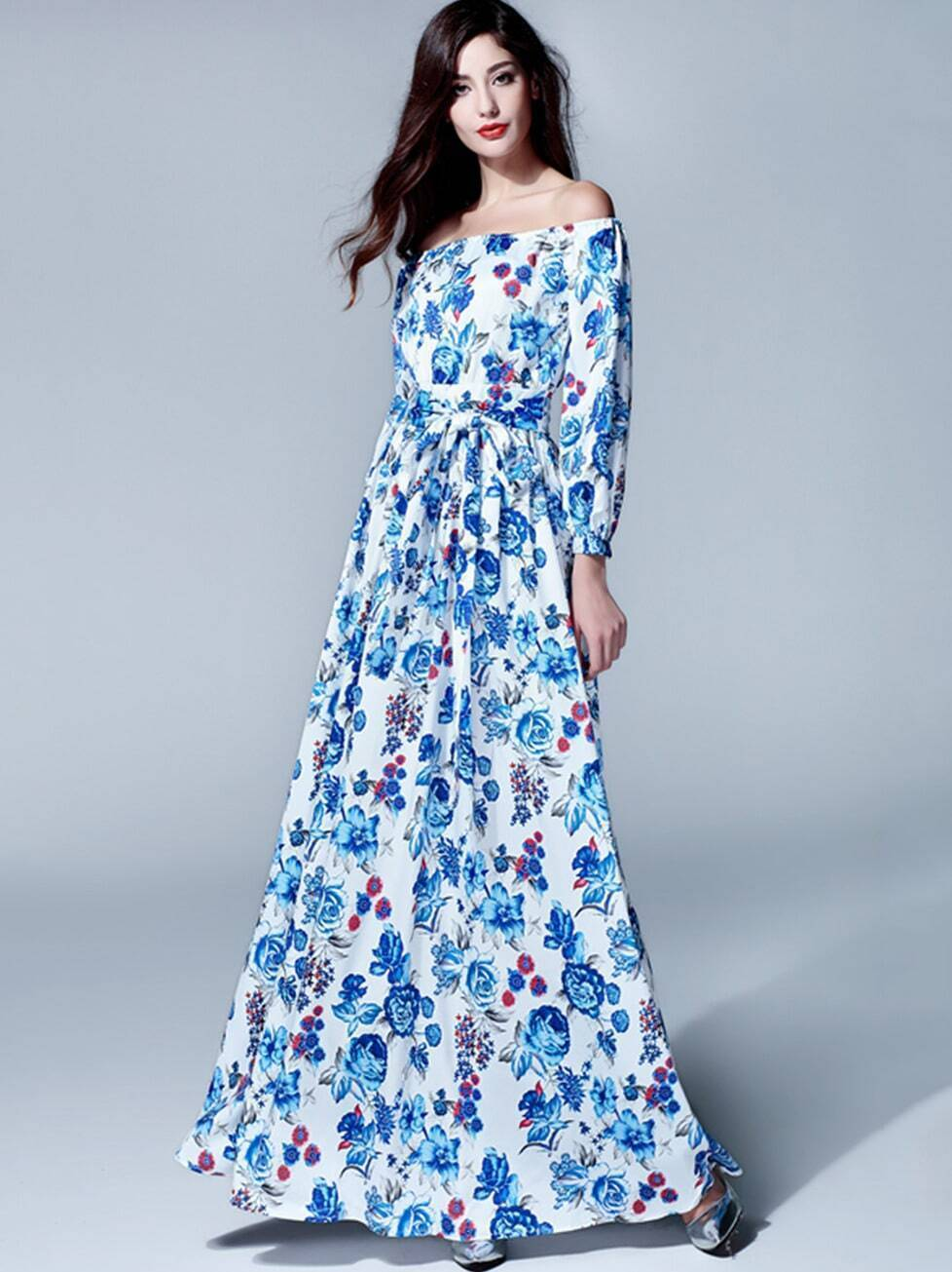 Blue Off The Shoulder Length Sleeve Print Tie-Waist Dress