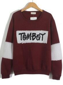 Wine Red Round Neck TomBoy Embroidered Sweatshirt